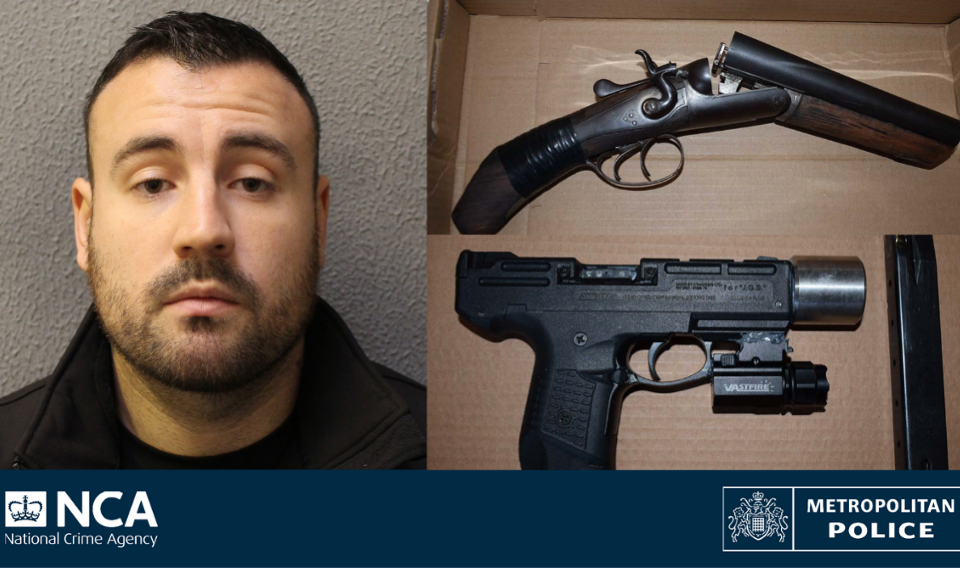 Darren Dixon and two firearms seized from his house