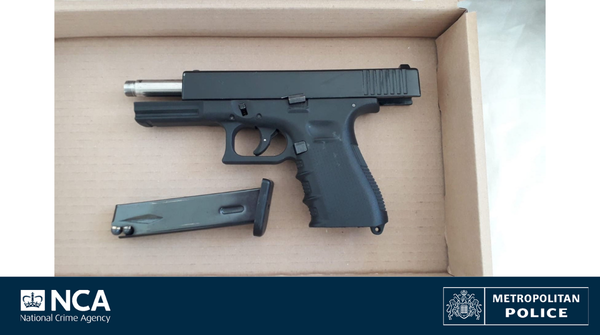A handgun in a box