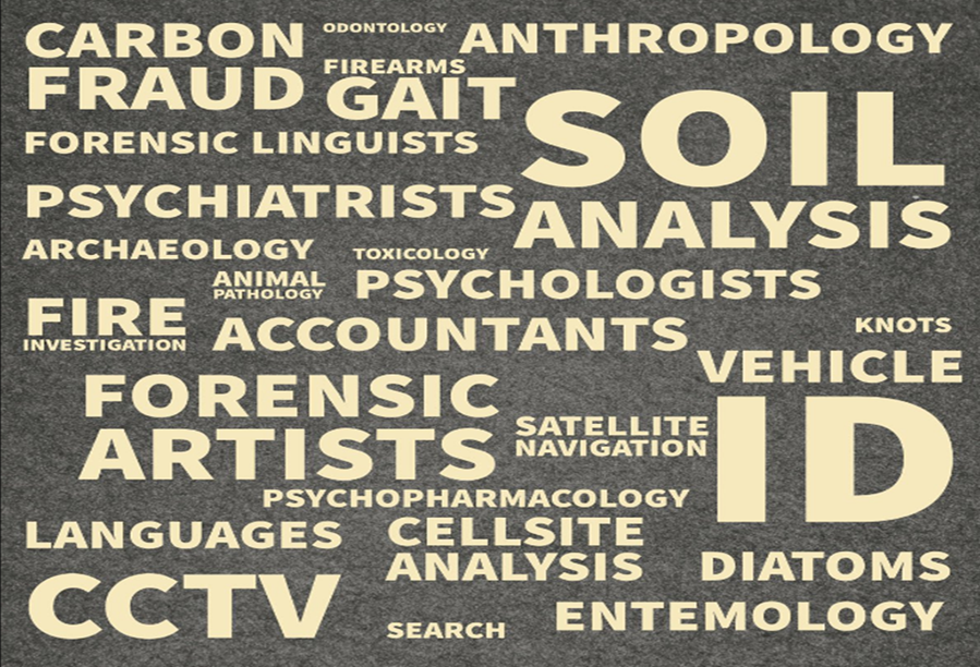 MCIS word cloud: Carbon; odontology; anthropology; fraud; firearms; gait; forensic linguists; soil; psychiatrists; analysis; archaeology; toxicology; animal pathology; psychologists; fire investigation; accountants; knots; forensic artists; satellite navigation; vehicle; ID; psychopharmacology; languages; cellsite analysis; diatoms; CCTV; search; entemology.