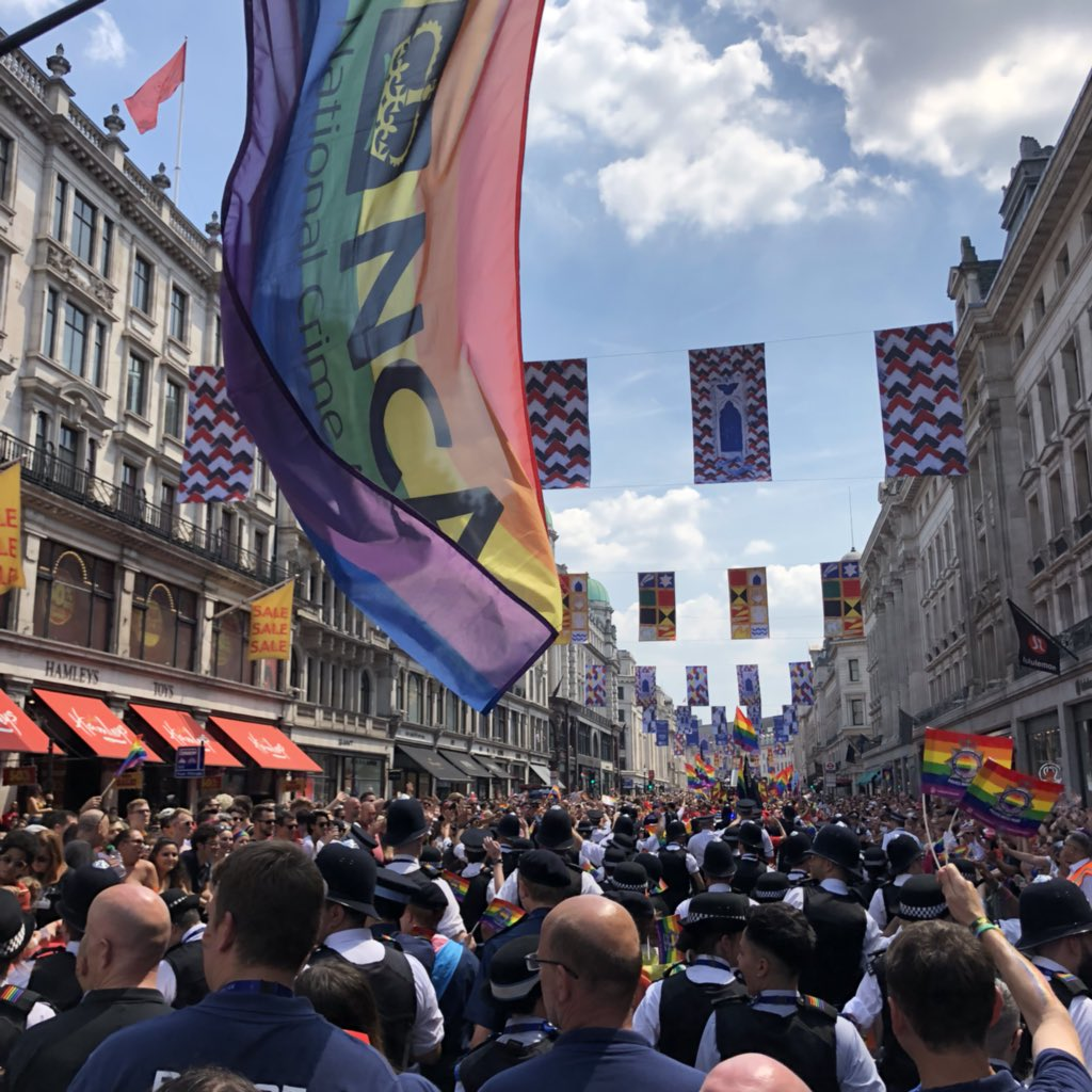 Pride march with NCA flag