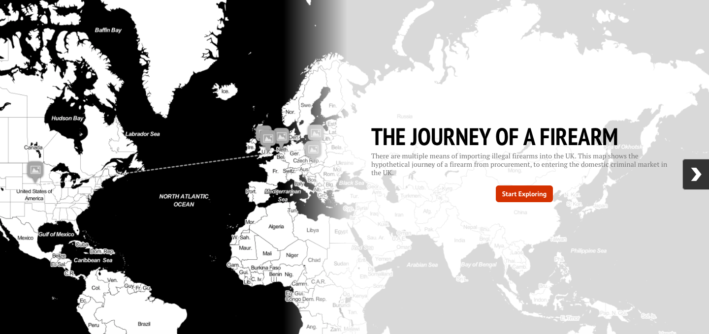 Follow the journey of illegal firearms into the UK